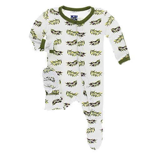 Price comparison product image Kickee Pants Little Boys Print Footie with Snaps - Natural Olive Branch,  3-6 Months
