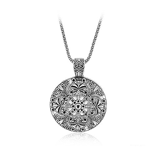 Antique Style Pendant Necklace (Antique Silver Tone Round Flowers Pendant Necklace Chain Long Necklace (Antique Style 3))