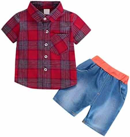 9104c3d97 Mealeaf ❤ Infant Baby Girl Gentleman Plaid Shirt Print Solid Denim Shorts  2PC