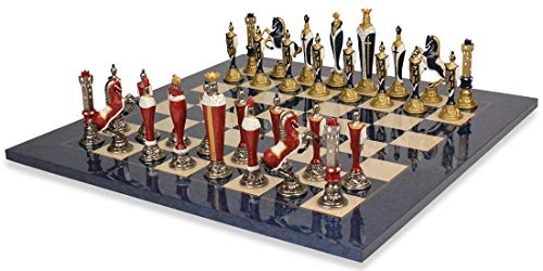 Renaissance Theme Hand Painted Metal Chess Set with Blue Ash Burl Chess Board