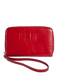 ELLE Faux Leather Zip-Around Wallet, Red, Under Seat