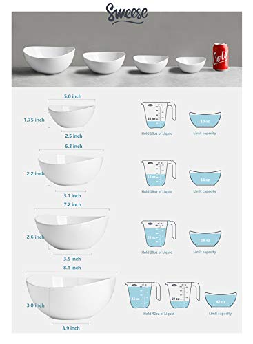 Sweese 105.401 Porcelain Bowls 10-18-28-42 Ounce Various Size Bowl Set - Set of 4, White