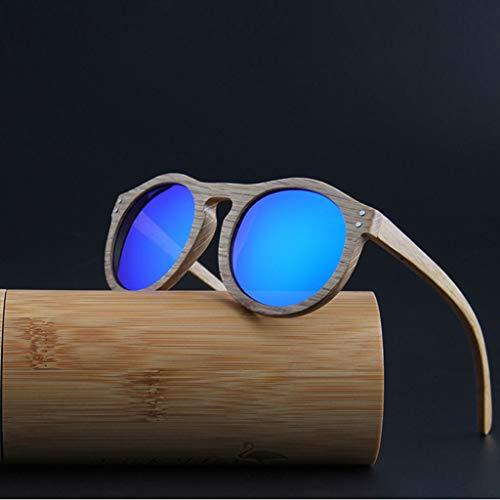los a con Naturales Azul Redondas bambú polarizadas Rayos Lentes Negro Resistentes Retro Gafas UV de Gafas Gafas sol Color Madera Unisex y R7xW40