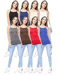 8 Pack Women's Premium Seamless Basic Layering Camis Tank Tops