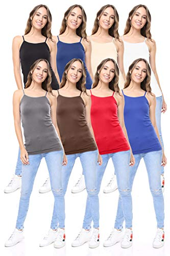 Lycra Shelf Bra - Free to Live 8 Pack Women's Premium Seamless Basic Layering Camis Tank Tops
