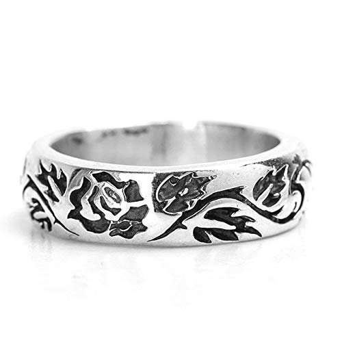 Aeici 925 Sterling Silver Ring Vintage Retro Roses Flower Signet Rings Men's Women's Silver Size 9