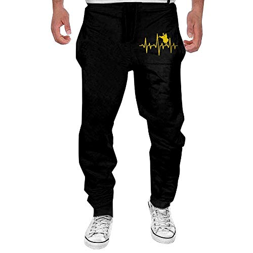 (Men's Bull Rider Heartbeat Sport Cotton Jogger Pants,Gym Beam Trousers)