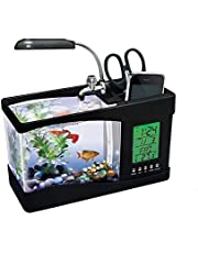 Usb Mini Fish Tank Desktop Electronic Aquarium Fish Tank With Water Running Led Pump Light Calendar Clock Black