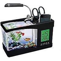 SKEIDO Usb Mini Fish Tank Desktop Electronic Aquarium Fish Tank With Water Running Led Pump Light Calendar Clock Black
