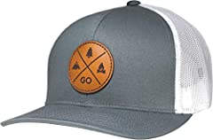 Simple and clean design for those that love the outdoors - camping, hiking, fishing, hunting. The leather patch logo is placed on a high quality hat. The front panels are structured with mesh back. The hat has an adjustable plastic snap closu...