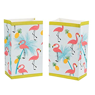 Flamingo Party Bags - 36-Pack Small Paper Gift Bags for Party Favors, Tropical Summer Themed Birthday Party Supplies, Flamingo, Pineapple, and Palm Trees Print Kids Goodie Bags: Kitchen & Dining