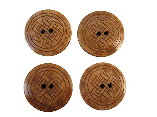 Zen Canyon Natural Brown Celtic Endless Knot - 2-hole Carved Yak Bone Buttons - Pack of 4 - 1-3/16