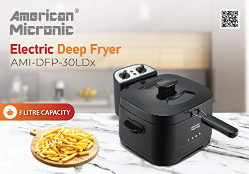American Micronic AMI-DFP-30LDx-3 Litre Electric Deep Fryer with Timer & Variable Temperature Control, Black 7