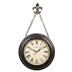 Indoor Vintage Pocket Watch Inspired Wall Clock with Chain Mediterranean Style Clock Home Decor Bedroom Living Room Garden Metal Black Iron 16 Inch 0