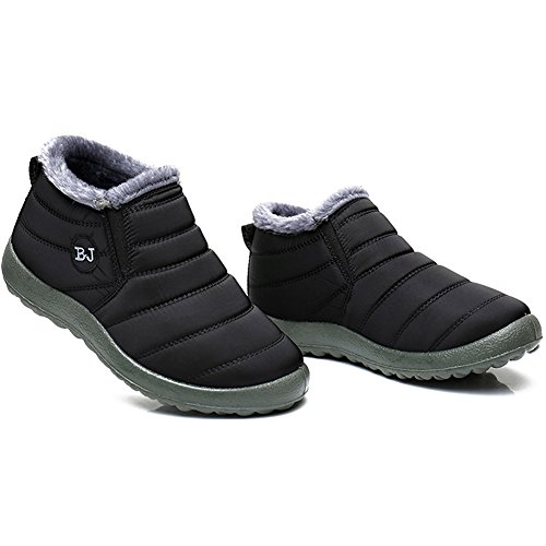 Womens Casual Winter Boots (JOINFREE Unisex Waterproof Snow Shoes Winter Boots Flat Short Plush Lining Black 6.5 B(M) US Women)