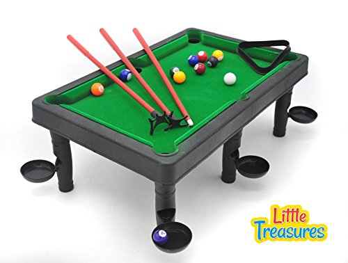 Little Treasures World Champion Mini Pool Set - Portable Pool Ball Game with 3 cue Sticks, Pocket Holders, Triangular Frame, Numbered Balls and Snooker Table for a Delightful one-on-one Snooker Game
