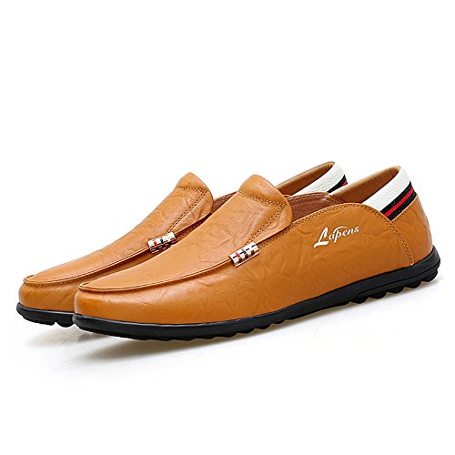 Lapens Hombres Driving Zapatos Premium Leather Fashion Slipper Casual Slip On Mocasines Zapatos Amarillo Marrón 1