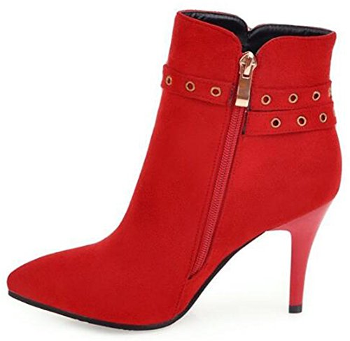 Studded Booties Zipper Faux Pointed Ankle Women's Strap Stiletto Red Side Toe Short Sexy Suede Boots Mofri High Heel Buckle SFw1f4xq