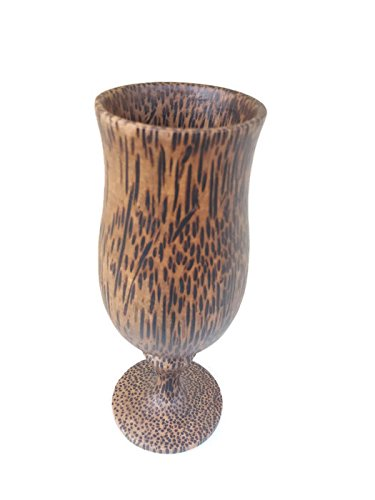 1PCS 5.75''X2'' NEW WINE ,ฺฺฺBRANDY GLASS SOUVENIR CUP CARVED WOODEN THAI HANDCRAFT PALM WOOD by Amazingonline