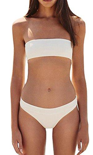 Coutgo Women's 2PCS Bikini Sets Solid Bandeau Swimsuit Top Bottom Set (M, White) (Bandeau White Bikini)
