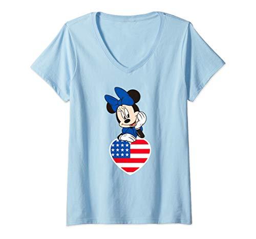 Womens Disney Minnie Mouse Americana Love  V-Neck T-Shirt