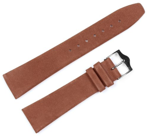 Suede Leather Watch Band (Silver & Gold Buckle) - Brown 19mm
