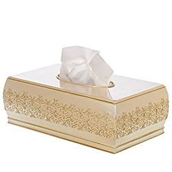 Shannon Rectangular Tissue Box Cover, Decorative Bath Tissues Paper Napkin Holder- Resin Rectangle Napkins Container- Durable Bottom Slider- For Elegant Bathroom Décor