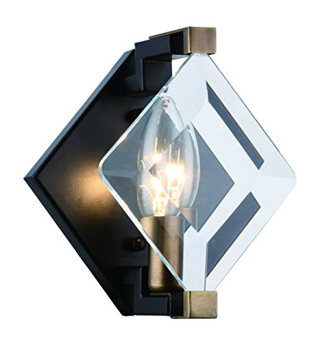 4000 Endicott Collection Wall Light D:5.9In H:7.5In E:5.3In Lt:1 Burnished Brass + Flat Black + Clear Glass Finish