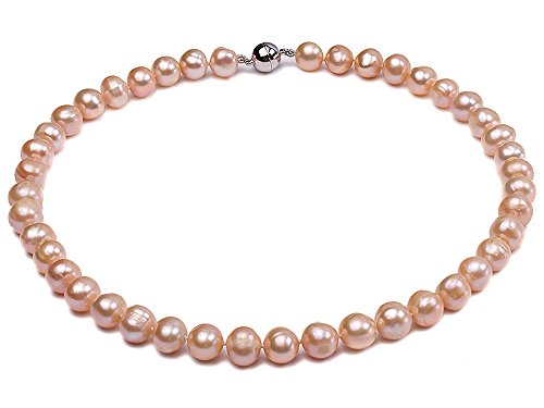 JYX Pearl 10-11mm Round Natural Pink Cultured Freshwater Pearl Necklace 18