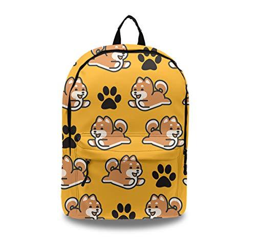 - Lightweight Water Resistant School Backpack College Book Bags Travel Rucksack (Cute Shiba Inu Glasses Dog)