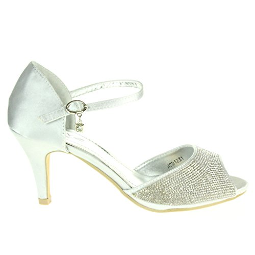 Heel Wedding Bridal Mid High Diamante Silver Prom AARZ Ankle Women Party Evening Ladies Size LONDON Shoes Strap Sandals g8gXqwP