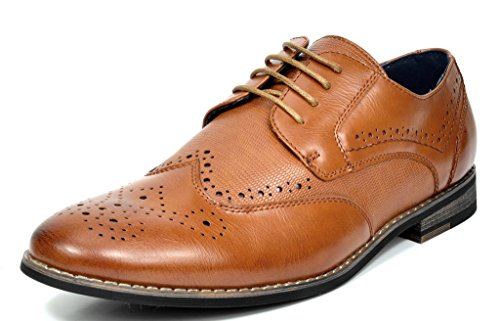 Bruno MARC FLORENCE Men's Oxford Modern Classic Brogue Lace Up Leather Lined Perforated Wing-tip Dress Oxfords Shoes