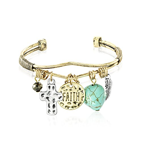 - WILLOWBIRD Simulated Turquoise Stone/Faith Disc/Cross/Angel Wing Charm Cuff Bangle Bracelet for Women in Yellow Gold-Tone Plated Metal