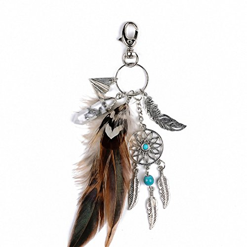 - SZTARA Boho Dream Catcher Keyring Fashion Natural Turquoise Charming Silver Feather Plane Leaf Keychain Women Bohemian Jewelry