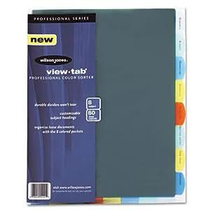 Wilson Jones View-Tab Professional Sorter, 8 Tabs, Letter Size, Multi-Color (W55121)