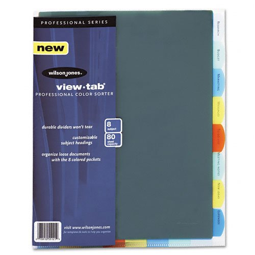 Wilson Jones View-Tab Professional Sorter, 8 Tabs, Letter Size, Multi-Color (W55121) ACCO Brands Canada Inc.