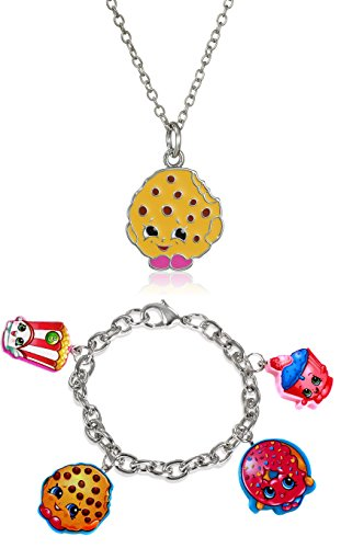 Shopkins Girls' Silver Plated Enamel Kooky Cookie on Chain Pendant Necklace, 16