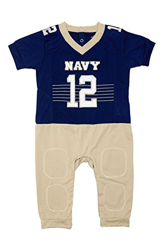 (FAST ASLEEP NCAA Navy Midshipmen Boys Infant Football Uniform Pajamas, 0-3 Months, Navy/Gold)