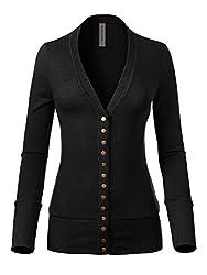 Instar Mode Women S Soft Basic V Neck Snap Button Down Knit Cardigan Black L