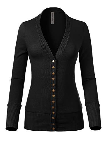 Design by Olivia Women's Soft Basic V-Neck Snap Button Down Knit Cardigan Black 1X ()