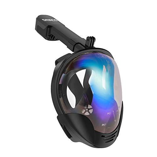(Lululeague Newest Version Snorkeling Mask, Full Face Snorkel Mask with Detachable Camera Mount,Foldable 180 Panoramic View Anti-Fog Anti-Leak Respiratory Diving mask(L/XL))