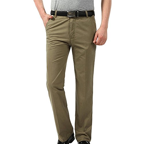 Men's Comfort Fit Chino Pants Work Wear Flat Front Dress Pant with Pockets ()