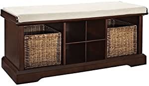 Crosley Furniture Brennan Entryway Storage Bench with Wicker Baskets and Cushion - Vintage Mahogany