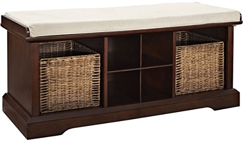 Crosley Furniture Brennan Entryway Storage Bench with Wicker Baskets and Cushion - Vintage Mahogany (Storage Baskets Bench Wicker)