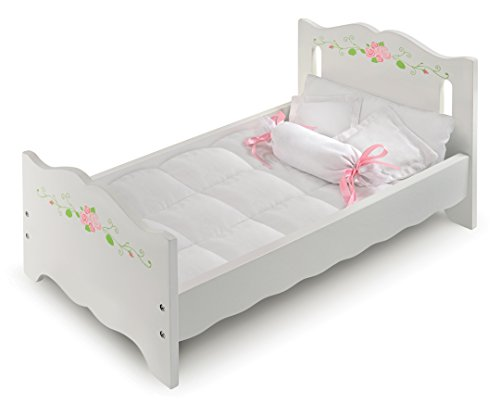 White Rose Doll Bed with Bedding and Free Personalization Kit (fits American Girl -
