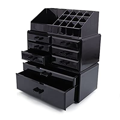 Z ZTDM Cosmetic Jeweley Storage Box Acrylic Makeup Organizer with Mutifunctional Display Drawers, Black - Its compact and fashionable design is pleasant to set your cosmetics It is made of high quality plastic material, durable and comfortable by touch This cosmetics storage rack is specially designed for the one who have many cosmetics - organizers, bathroom-accessories, bathroom - 41 H5KgozYL. SS400  -