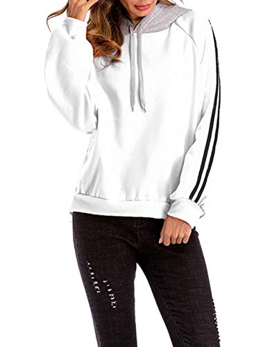Blouse Sweats Manches Longues Hauts Capuche Automne Pulls Patchwork Casual Shirts Sweat Jumpers Blanc Pullover Shirts Tops Printemps Mode Femmes et qwF6FxT
