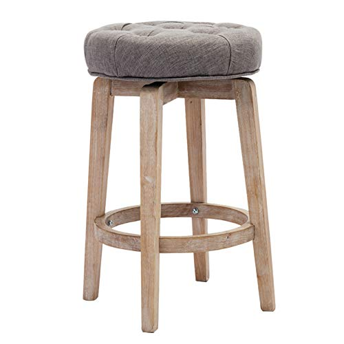 Chairus 26 Swivel Counter Heiget Stool, Upholstered Round Bar Stool with Tufted Button Distressed Wood Legs – Grey