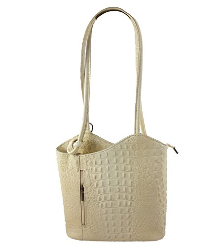 FreyFashion - Made in Italy - Bolso mochila  para mujer Kroko Creme