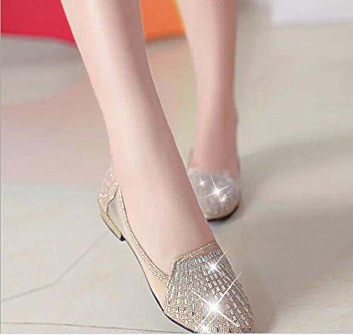 Sandalias Corte Oro Plata 40 Oro Dulces Talla Preciosas bajo de Estrecha de de Mujer 35 Sandalias Zapatos Punta Hermosas Piedras qFPUxH0